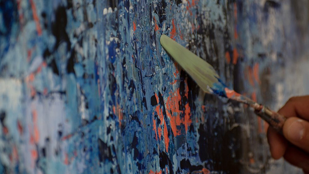 Painting a Blue Abstract with Acrylics